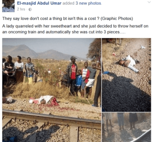 Graphic Photos: Suicidal Lady Who Had Disagreement With Lover Crushed To Death By Train